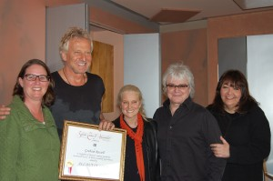 PHOTO CAPTION (From L-R): Alison Smith (BMI Senior Vice President of Performing Rights); GRAHAM RUSSELL; Barbara Cane (BMI Vice President/General Manager Los Angeles); RUSSELL HITCHCOCK; Doreen Ringer Ross (BMI Vice President of Film/TV Relations).