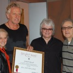 PHOTO CAPTION (From L-R): Barbara Cane (BMI Vice President/General Manager, Los Angeles); AIR SUPPLY's GRAHAM RUSSELL and RUSSELL HITCHCOCK; Ted Joseph (President, Odds On Records).