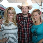 Emerging country singer-songwriter Shane Wyatt with rising country sensations Bombshel (Kristy and Kelly) at Firefest in Cold Spring, Minn., on July 31.