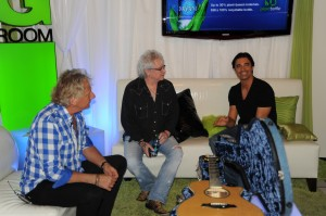 GRAHAM RUSSELL and RUSSELL HITCHCOCK of AIR SUPPLY; Actor GILLES MARINI in the Dasani Green Room at KVVU-TV Las Vegas.