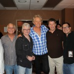 TED JOSEPH (President, Odds On Records); Wally Simmons (Principle, Odds On Records); RUSSELL HITCHCOCK and GRAHAM RUSSELL of AIR SUPPLY; Dana Parham (Principle, Odds On Records); Jaime Ikeda (National Account Executive, E1 Entertainment) backstage at The Orleans Hotel & Casino