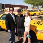 PHOTO CAPTION (L-R): GREG LONDON; Brian White (Yellow Checker Star Driver); Sarah Jessica (dancer in Greg London's ICONS).