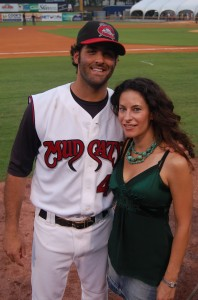 PHOTO CAPTION: Country artist Marthia Sides with Mike Constanzo from the Carolina Mud Cats at the Huntsville Stars game on July 12. PHOTO CREDIT: Ken Shelton
