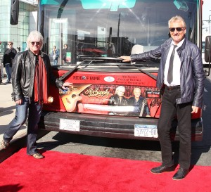 Russell Hitchcock (R) and Graham Russell (L) of Air Supply receive honor as the inaugural inductees for Gray Line New York's prestigious Ride of Fame™ campaign on October 13 in NYC.