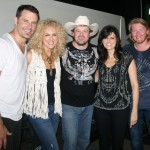 Emerging country singer-songwriter Shane Wyatt with country sensations Little Big Town (L-R: Jimmy Westbrook, Kimberly Schlapman, Karen Fairchild and Phillip Sweet) at Firefest in Cold Spring, Minn., on July 31.