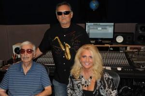 Bill Trujillo, Nick Trujillo, and Michelle Marie in the studio