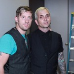 PHOTO CAPTION: Beau Hodges, lead singer of Theory of Flight, being congratulated backstage at the Hard Rock Café Strip in Las Vegas by Art Alexakis of Everclear for getting the most fan votes to secure the opening spot.