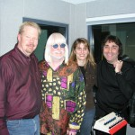 "Pictured, left to right, ""Rockline"" host Bob Coburn, Winter, Ventura Distribution's Jill Schlesinger and Winter's manager Jake Hooker."
