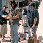 Billy Ray Cyrus rehearsing his lines as director Jim Bradley focuses the shot.