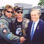 """Pictured Left to Right - Billy Ray Cyrus, Artie Muller - President of Rolling Thunder and """"Run To The Wall"""" event, and U.S. Defense Secretary Donald H. Rumsfeld."""