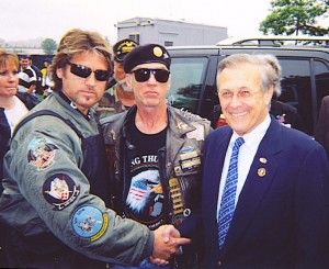 "Pictured Left to Right - Billy Ray Cyrus, Artie Muller - President of Rolling Thunder and ""Run To The Wall"" event, and U.S. Defense Secretary Donald H. Rumsfeld."