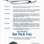 "Official Proclamation Document, ""Sandy Hackett's Rat Pack Day"""