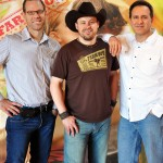 Photo Caption: Shane Wyatt (center) with Brian Goldenman (left) and Dan Adamson (right), founders of Farm Boy and Farm Girl brands.