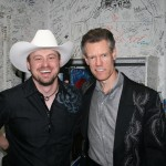 PHOTO CAPTION: Rising country singer Shane Wyatt with country music legend Randy Travis at the Surf Ballroom in Clear Lake, IA on July 18.